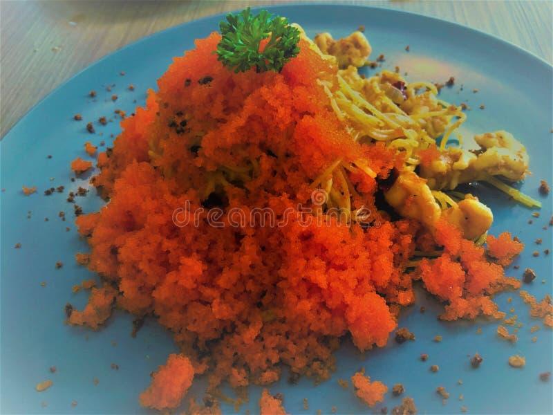 Würzige japannese Schinken und Wurst der Spaghettis fushion Nahrung stockfotos