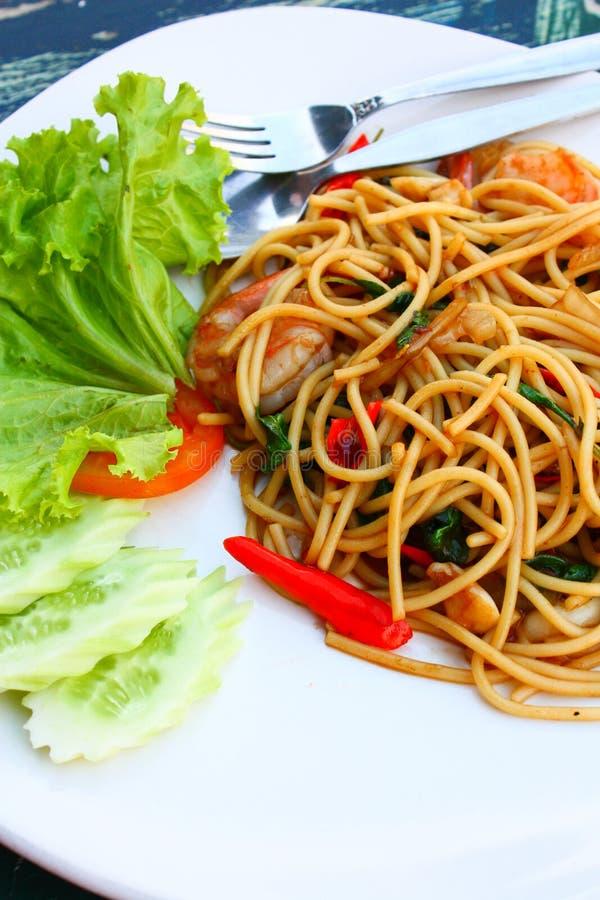 Würzige Meeresfrüchtespaghettis stockbilder