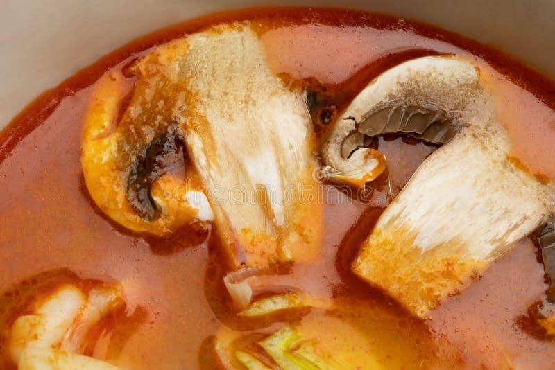 Würzige Suppe Tom Yam des Details mit Pilzen lizenzfreie stockfotos