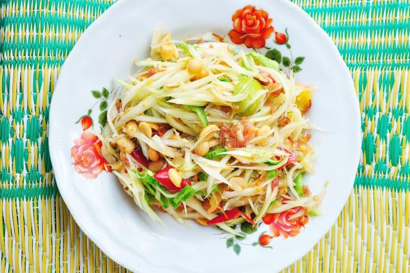 Würziges köstliches der grünen Küche des Papayasalats siamesischen stockfoto