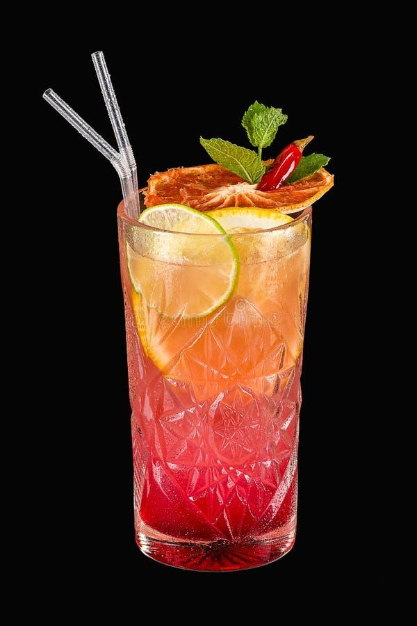 Würziges tropisches Cocktail auf schwarzem Hintergrund lizenzfreie stockfotos