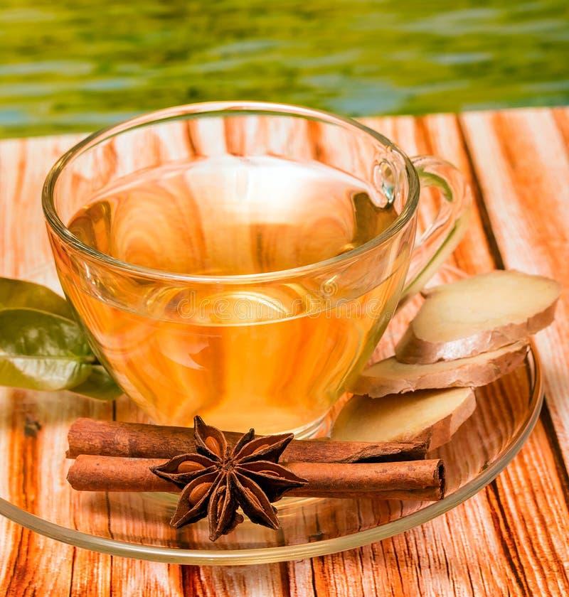 Würzte Ginger Tea Shows Refresh Beverage und erneuert lizenzfreies stockfoto