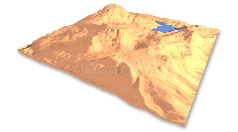 Wüste 3d mit See lizenzfreie stockfotos