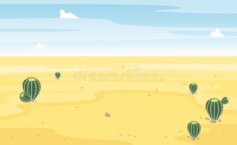 Wüste mit Kaktuslandschaftsansicht Sand und Kakteen Schöne sonnige Sommerszene Hei? und wild Vektor-Karikatur flach lizenzfreie abbildung