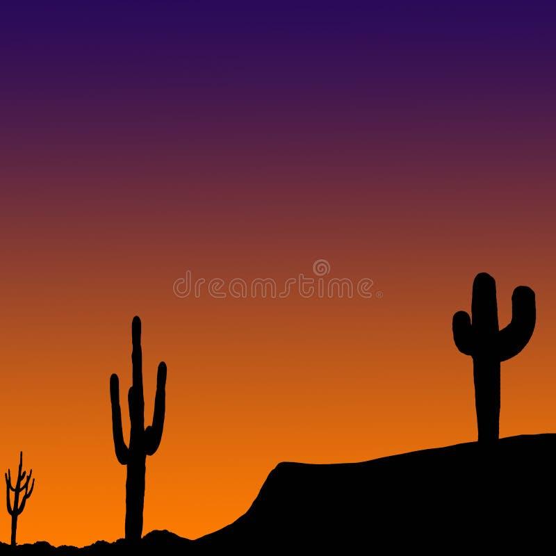 Wüste am Sonnenuntergang-Hintergrund lizenzfreie abbildung