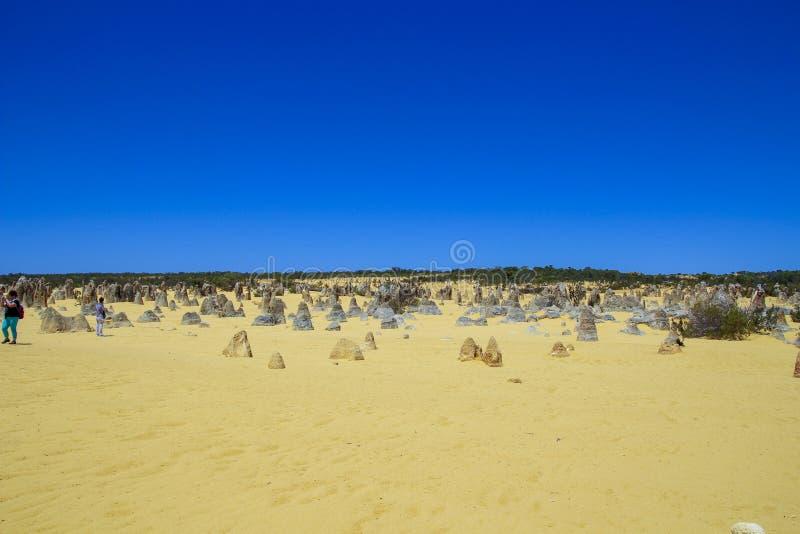 Wüste und Felsen mit blauem Himmel lizenzfreies stockbild
