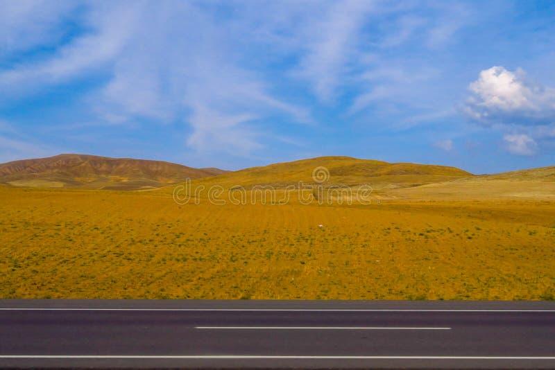 Wüste und Landstraße mit einem blauen Himmel lizenzfreies stockfoto