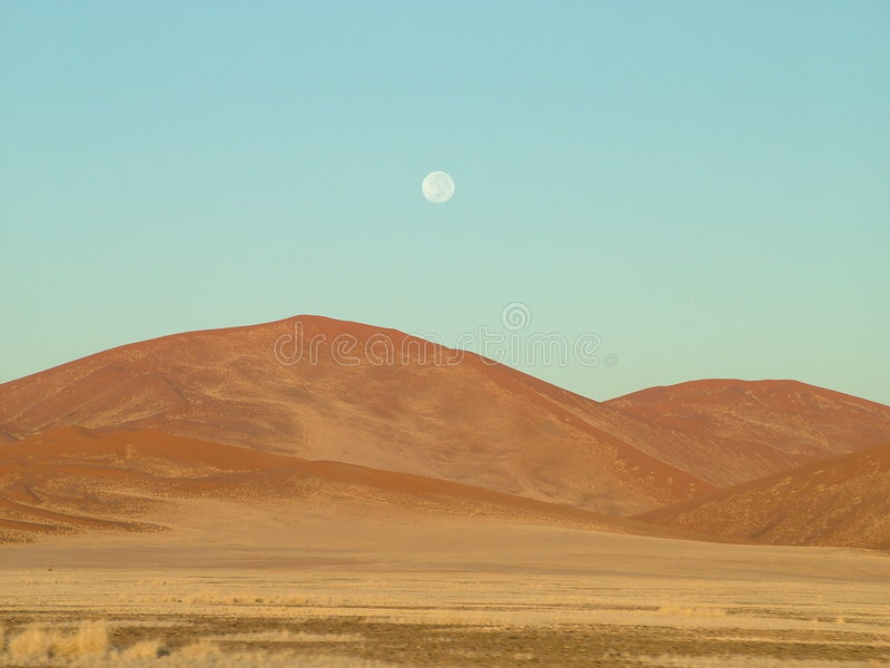 Wüste und Mond lizenzfreie stockbilder