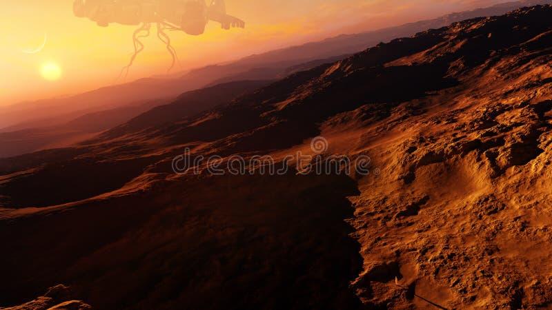 Wüsten-ausländisches Planeten-Konzept lizenzfreie abbildung