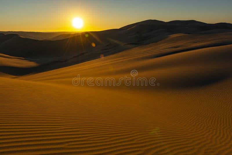 W?sten-Landschaft bei Sonnenuntergang, Ica, Peru stockbilder