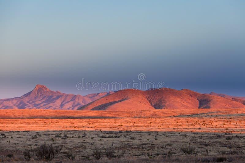 Wüsten-Landschaftnew mexico US des Sonnenuntergangs helles hohes stockbild