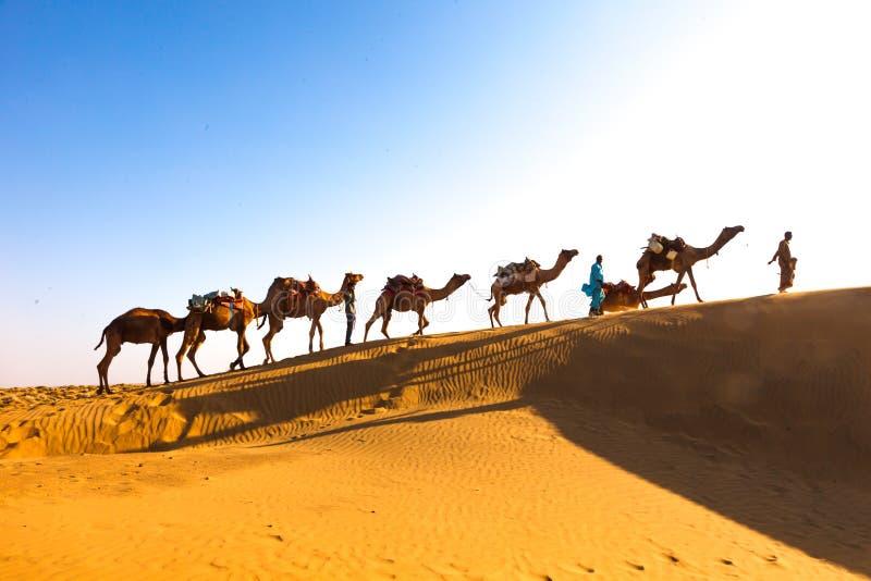 Wüsten-Wohnwagen Indien stockbild