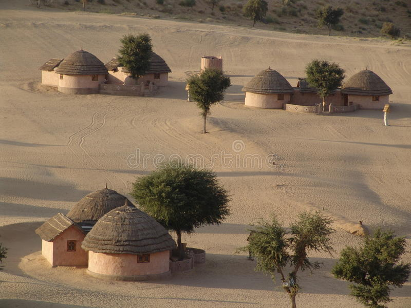 Wüstendorf, Rajasthan, Indien stockbild
