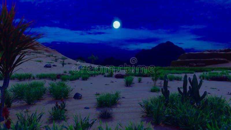 Wüstenhorizont Moonlit Nacht Weite Berge, Sanddünen und blauer Himmel Sch?ne Landschaft Sanddünen und nächtlicher Himmel Sand vektor abbildung
