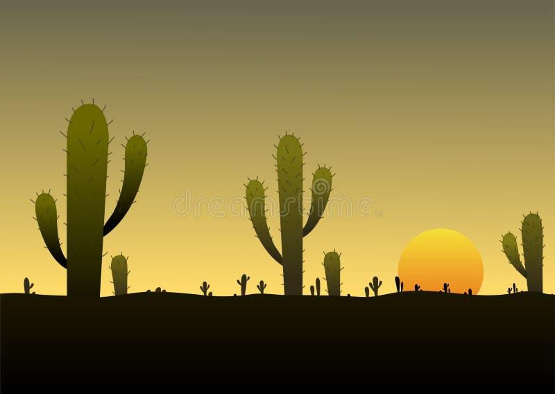Wüstenlandschaftssonnenaufgangkaktushintergrund-Szenenschattenbild lizenzfreie abbildung