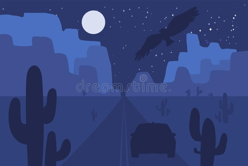 Wüstenlandschaftsszene mit Straße lizenzfreie abbildung
