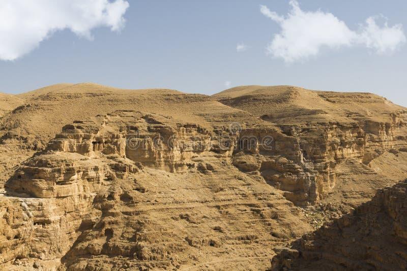 Wüstenschlucht von Wadi Kelt lizenzfreie stockfotografie