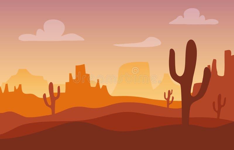 Wüstensonnenuntergang-Schattenbildlandschaft Arizona- oder Mexiko-Westkarikaturhintergrund mit wildem Kaktus, Schluchtberg vektor abbildung