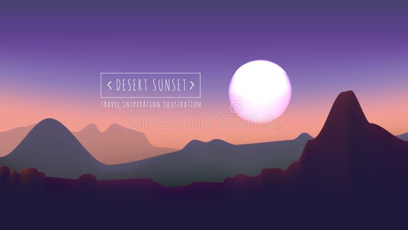 Wüstensonnenuntergang-Vektorillustration stock abbildung