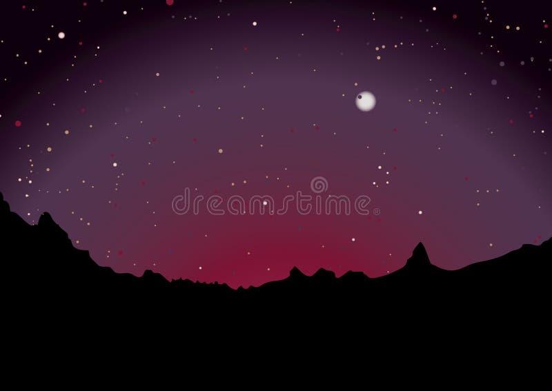 Wüstensonnenuntergangskyline stockbild