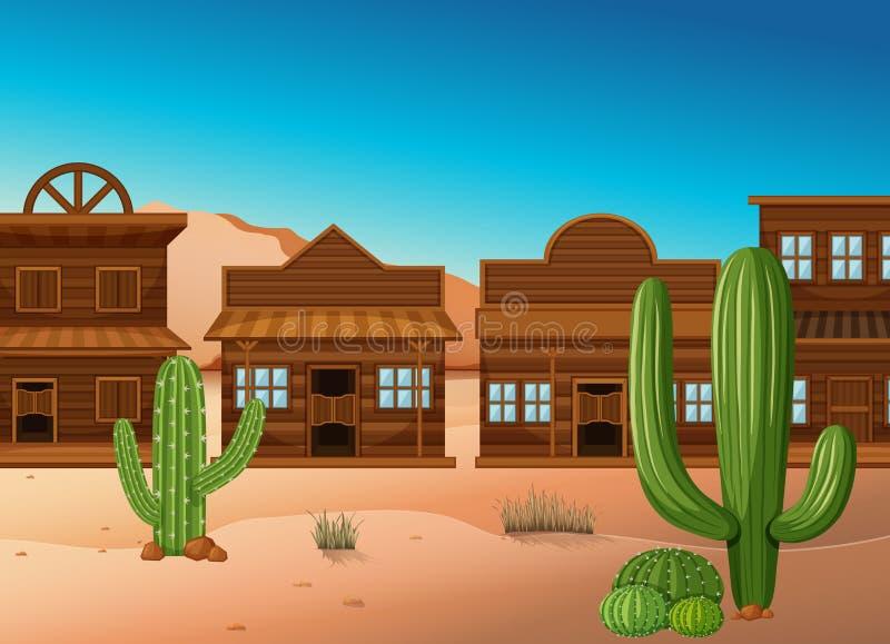 Wüstenszene mit Shops und Kaktus stock abbildung