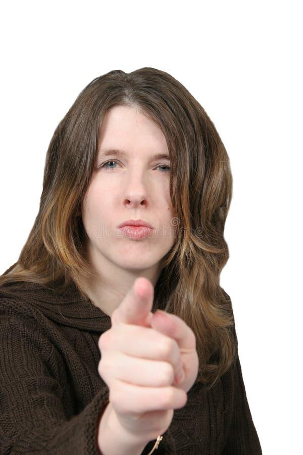 Wütende Frau - Zeigen des Fingers stockfotos