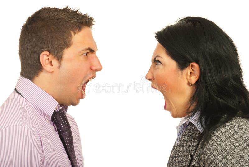 Wütende Geschäftsleute, die Debatte haben stockfotos