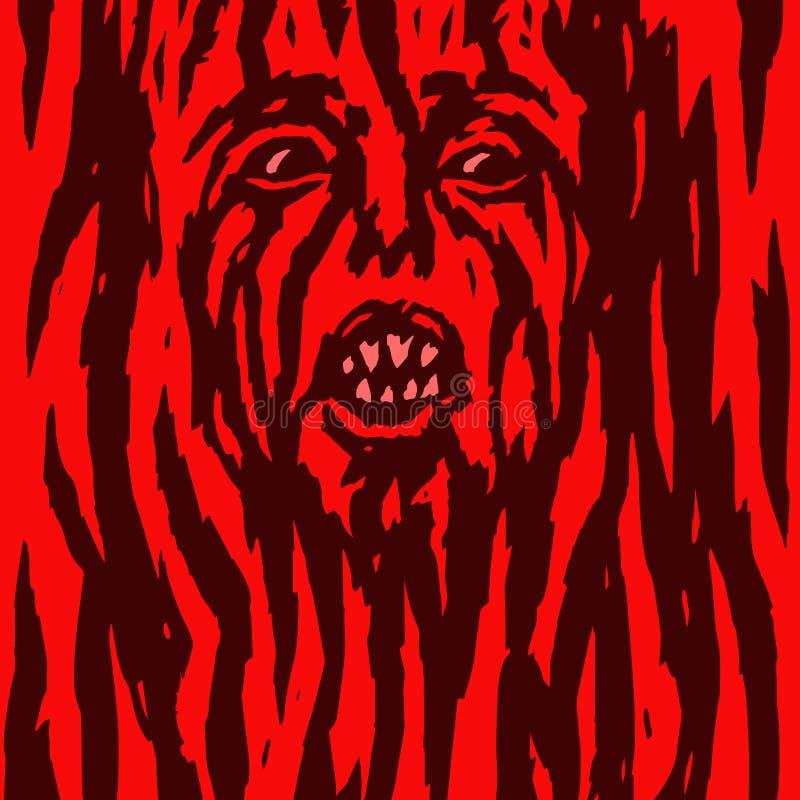 Wütende rote Dämonfrau blutet Auch im corel abgehobenen Betrag lizenzfreie abbildung