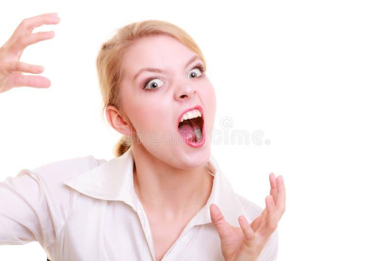 Wütende schreiende Frau der verärgerten Geschäftsfrau lizenzfreies stockfoto