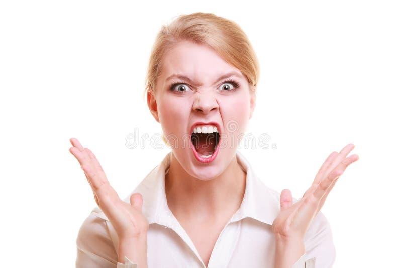 Wütende schreiende Frau der verärgerten Geschäftsfrau stockfotografie