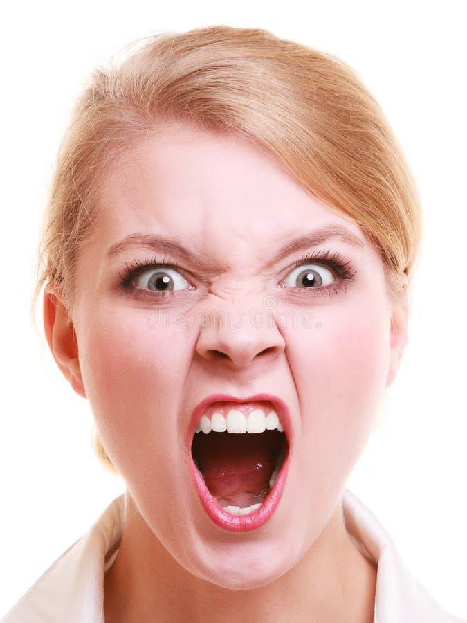 Wütende schreiende Frau der verärgerten Geschäftsfrau stockbilder