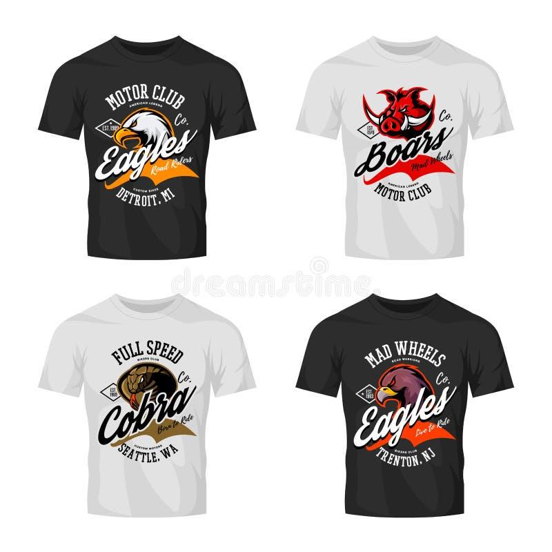 Wütender Adler der Weinlese, Eber, Kobraradfahrervereint-stück Druckvektor-Vektordesign lokalisiert auf T-Shirt Modell stock abbildung