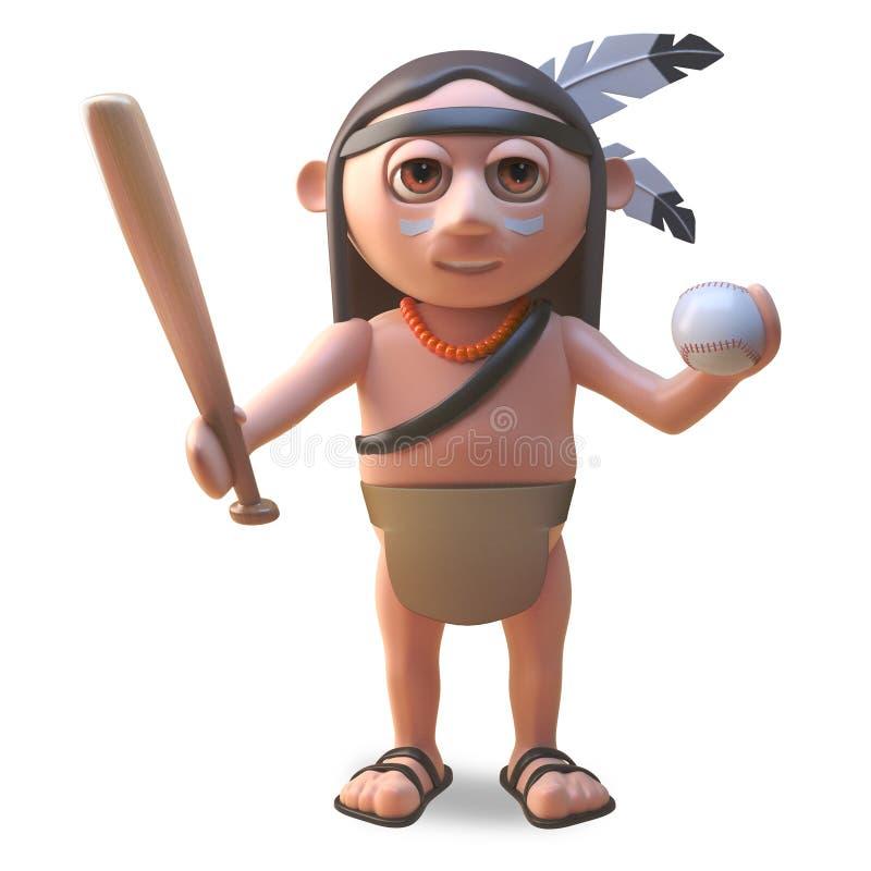 Wütender gebürtiger indianischer Mann des Sports, der einen Baseballschläger und einen Ball, Illustration 3d hält stock abbildung