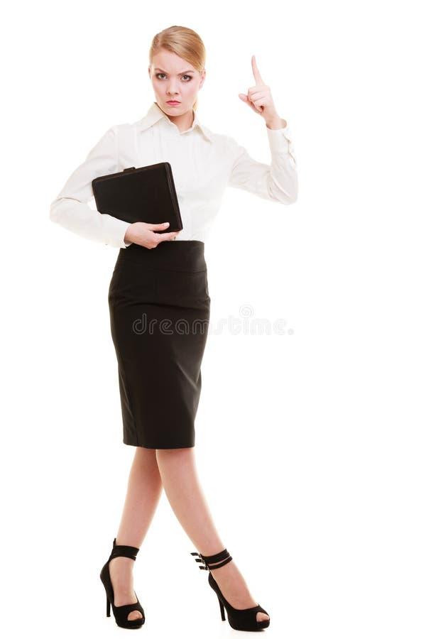 Wütender Geschäftsfraulehrer in voller Länge, der den Finger lokalisiert rüttelt lizenzfreie stockfotos