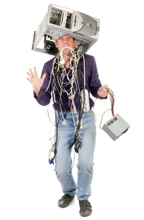 Wütender Mann mit Computer stockfoto