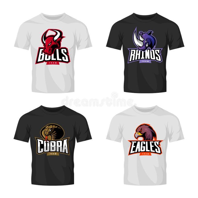 Wütender Nashorn-, Stier-, Adler- und Schlangensportvektorlogo-Konzeptsatz lokalisiert auf schwarzem T-Shirt Modell lizenzfreie abbildung