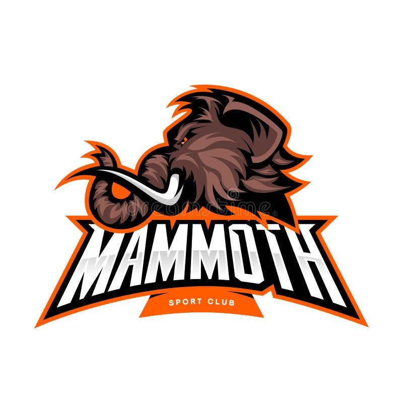 Wütendes Kopfsportvektor-Logokonzept des wolligen Mammuts lokalisiert auf weißem Hintergrund lizenzfreie abbildung