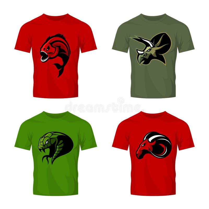 Wütendes Piranha-, RAM-, Schlangen- und Dinosaurierhauptsportvektor-Logokonzept stellte auf Farbt-shirt Modell ein lizenzfreie abbildung