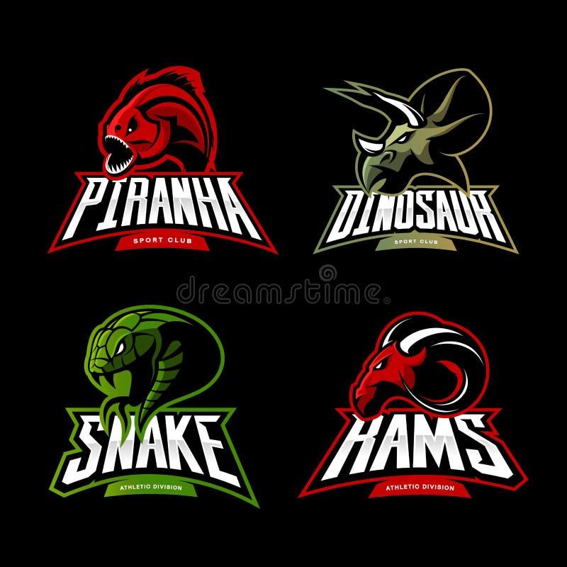 Wütendes Piranha-, RAM-, Schlangen- und Dinosaurierhauptsportvektor-Logokonzept stellte auf schwarzen Hintergrund ein vektor abbildung