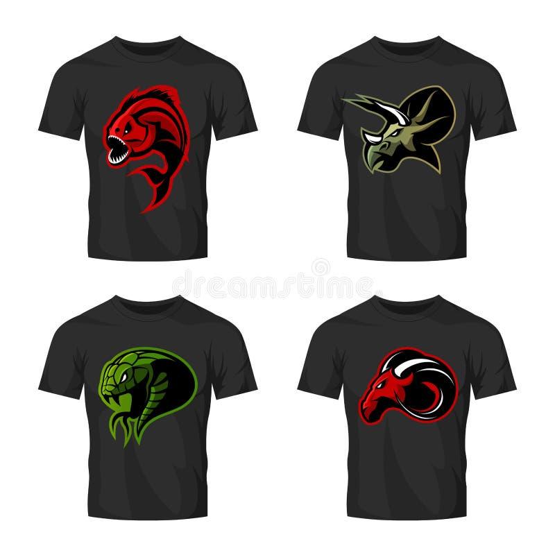 Wütendes Piranha-, RAM-, Schlangen- und Dinosaurierhauptsportvektor-Logokonzept stellte auf schwarzes T-Shirt Modell ein vektor abbildung