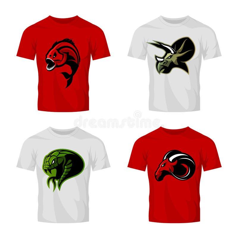 Wütendes Piranha-, RAM-, Schlangen- und Dinosaurierhauptsportvektor-Logokonzept stellte auf T-Shirt Modell ein lizenzfreie abbildung