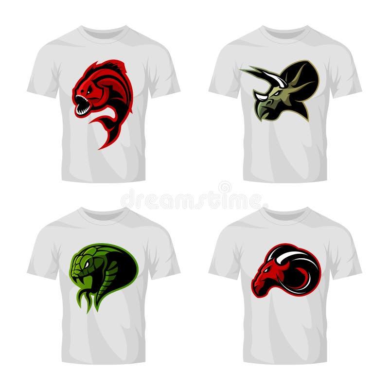 Wütendes Piranha-, RAM-, Schlangen- und Dinosaurierhauptsportvektor-Logokonzept stellte auf weißes T-Shirt Modell ein vektor abbildung