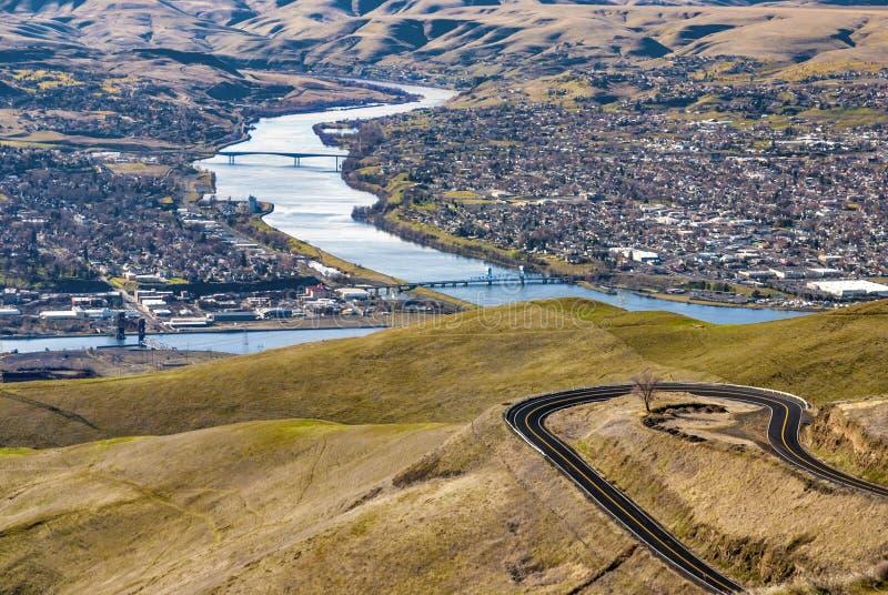 Jasny Wodny Rifer między Lewiston Idaho i Clarkston Washingto zdjęcia stock
