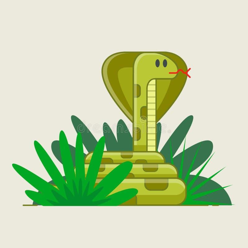 Wąż kucający w zielonych krzakach niebezpiecze?stwo chuj?cy ilustracji