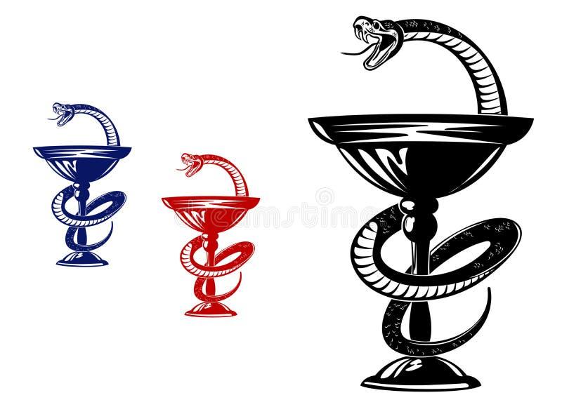 Wąż na filiżance ilustracji