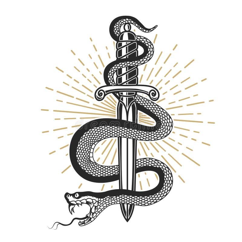 Wąż na nożu w tatuażu stylu Projektuje element dla t koszula, plakat, karta, emblemat, znak royalty ilustracja