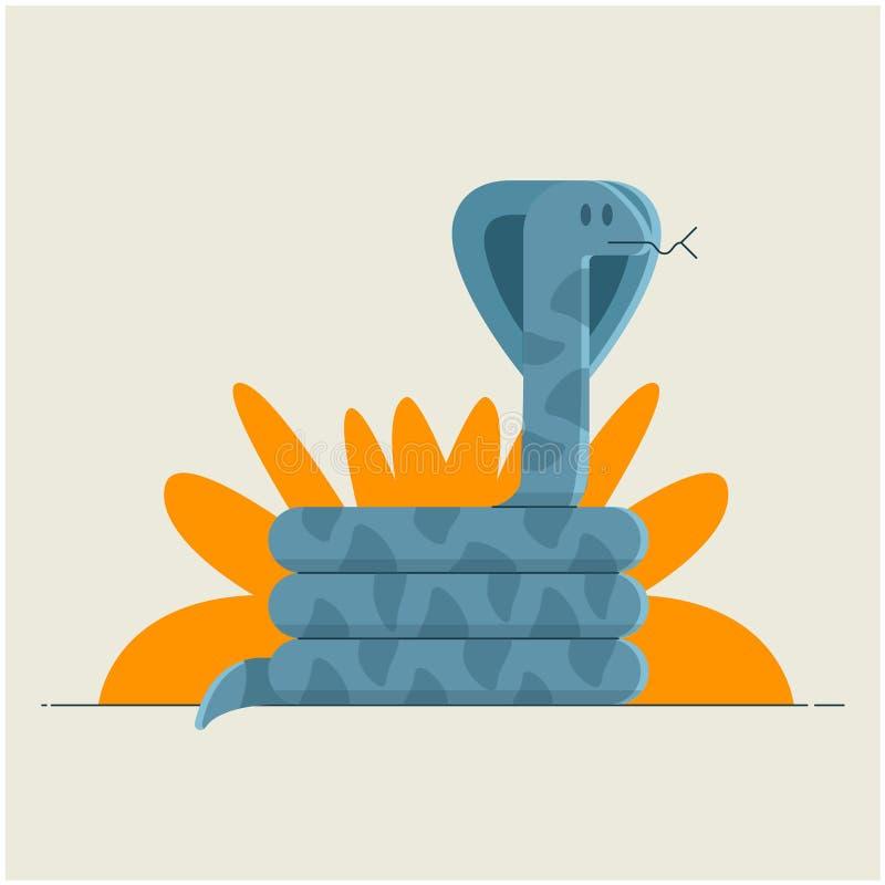 Wąż siedzi pod krzakiem w dżungli ilustracja wektor