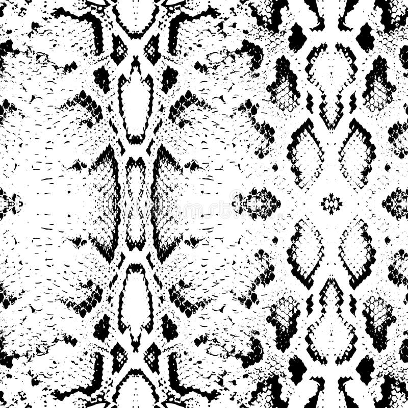 Wąż skóry tekstura Bezszwowy deseniowy czerń na białym tle wektor ilustracja wektor