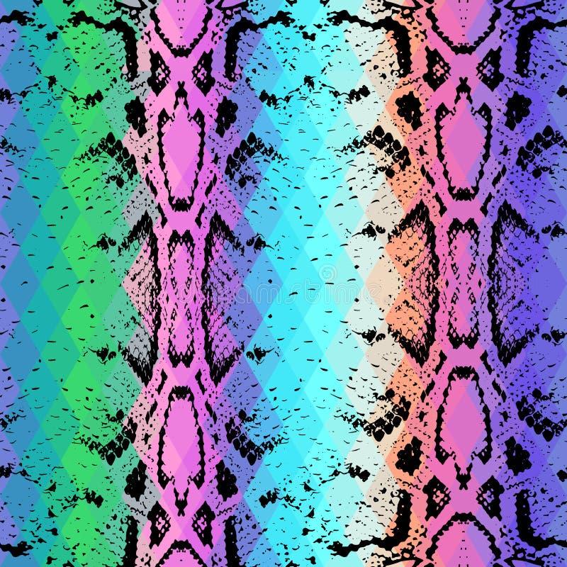 Wąż skóry tekstura z barwionym rhombus geometryczny tło Bezszwowej deseniowej czarnej tęczy zieleni purpurowy błękitny żółty tło royalty ilustracja