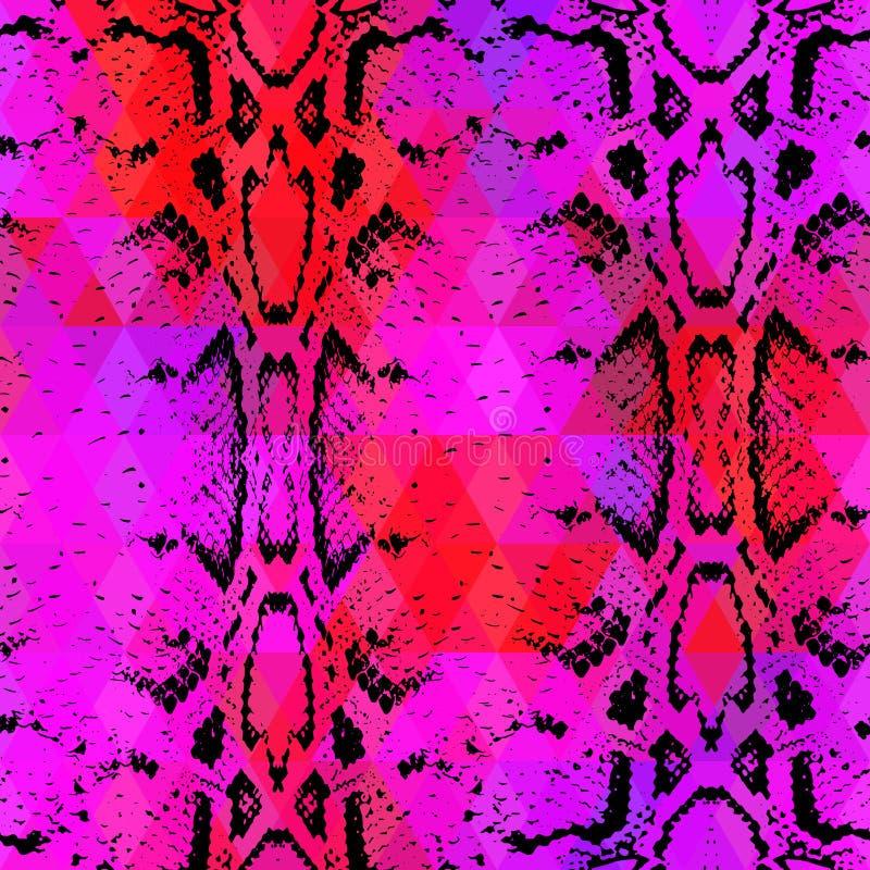 Wąż skóry tekstura z barwionym rhombus geometryczny tło Bezszwowych deseniowych czarnych bez menchii czerwony tło, kolorowy psych royalty ilustracja
